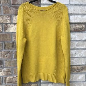 Yellow Jcrew cable-knit sweater